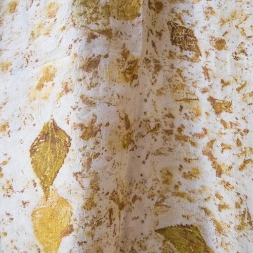 Foulard en soie – impression végétale jaune kaki