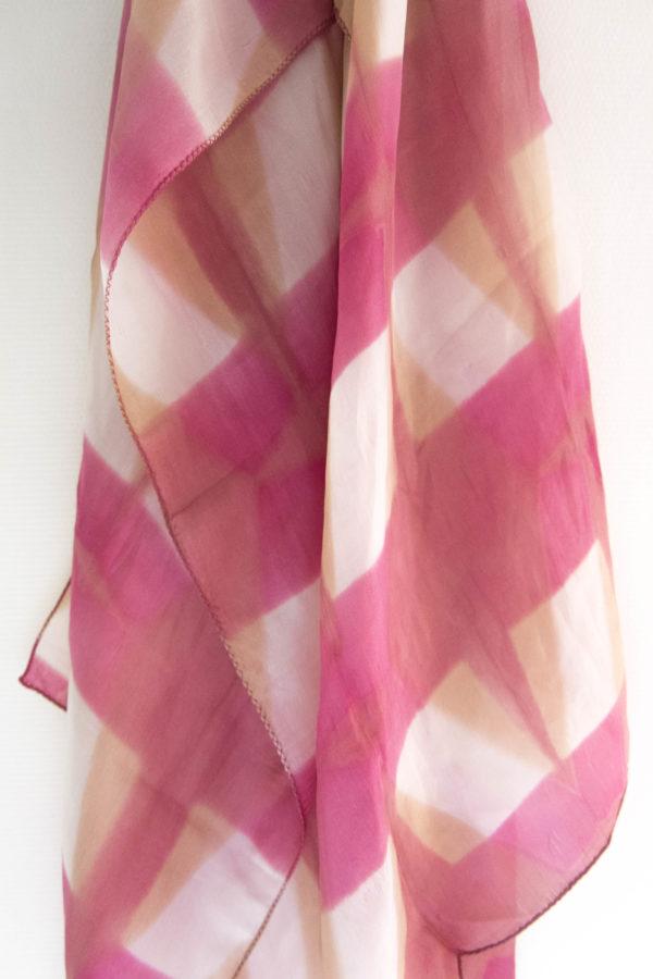 Foulard soie shibori rose