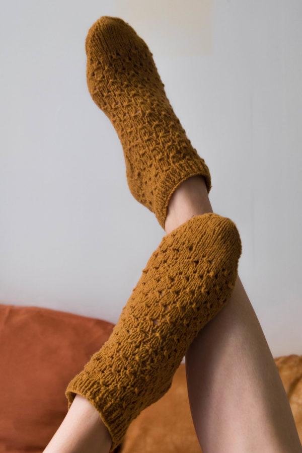 Socquettes en laine mérinos tricotées main