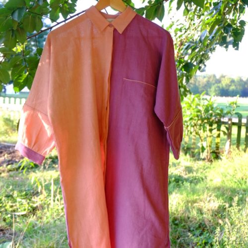 Robe chemise MIA – rose et violet